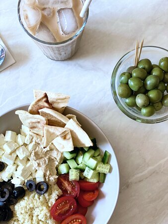 The Greek Hummus, pitta bread, couscous, cucumber and feta cheese