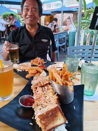 Lobster sandwich and Appetizer sampler in back.