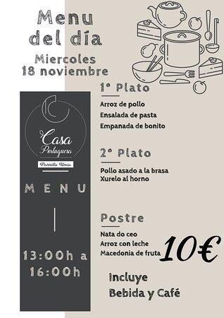 Nuestro menú para mañana Miércoles 18 Noviembre!!! Esperamos que os guste!!! www.parrillaumia.com/menu https://fb.me/Casaportuguesa.parrillaumia https://www.instagram.com/casaportuguesaumia/ https://www.youtube.com/channel/UC9eDEa4qsHTjVTX4Ilbd8PA?view_as=subscriber