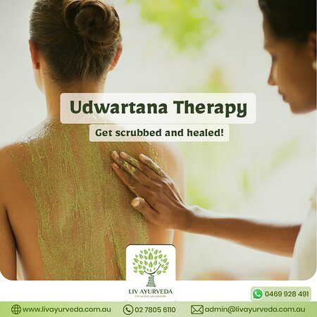 Udwartana is an ayurvedic body massage where the body is scrubbed and massaged in a rhythmic motion with herbal powders or pastes. Udwartana improves lymphatic drainage leaving you feeling light and relaxed. It is helpful in toning the skin, improving metabolism, relaxing the mind, losing weight and balancing Vata and Kapha. Are you interested? then book your slot now.  To know more about our Udwartana therapy, contact us:  02 7805 6110 or visit our website: http://livayurveda.com.au/