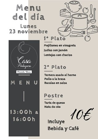 Nuestro menú para mañana Lunes 23 Noviembre!!! Esperamos que os guste!!! www.parrillaumia.com/menu https://fb.me/Casaportuguesa.parrillaumia https://www.instagram.com/casaportuguesaumia/ https://www.youtube.com/channel/UC9eDEa4qsHTjVTX4Ilbd8PA?view_as=subscriber