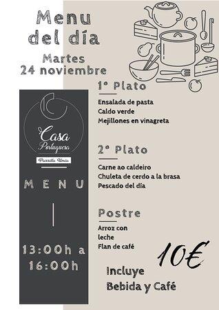 Nuestro menú para mañana Martes 24 Noviembre!!! Esperamos que os guste!!! www.parrillaumia.com/menu https://fb.me/Casaportuguesa.parrillaumia https://www.instagram.com/casaportuguesaumia/ https://www.youtube.com/channel/UC9eDEa4qsHTjVTX4Ilbd8PA?view_as=subscriber