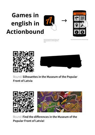 """The Popular Front Museum invites you play virtual games! To start the games, you need to download the """"Actionbound"""" in APP STORE or GOOGLE PLAY, scan the code and play :)  P.S. Please allow permission to publish results at the end of the game."""