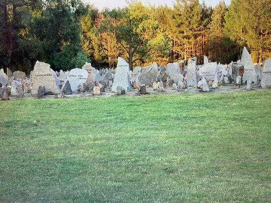 Treblinka, Polonia: Each shattered boulder here represents a destroyed Polish Jewish community, with a location name engraved on each one- I found the two for my grandparents' home towns.