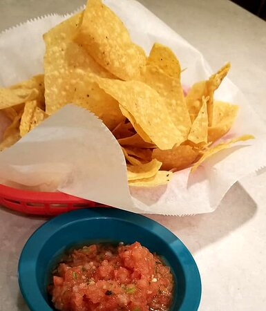 Chips and Salsa - salsa just the right amount of spice