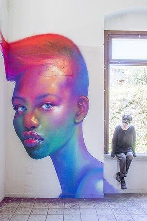 """Adut Akech"" Maria spraypaint on wall - 2020  Instagram: caktusemaria FB Fanpage: Caktus & Maria Artwork"