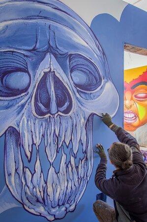 """MY CLOUD "" Caktus - spraypaint on wall 2019 Instagram: caktusemaria FB Fanpage: Caktus & Maria Artwork"