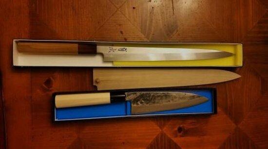 TOP: Aritsugu yanagiba honyaki  BOTTOM: Shigeharu Santoku