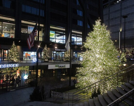 John Hancock Building Plaza in the evening: Happy Holidays & Great Time for All! 875 N Michigan Ave, Chicago IL, December 2019