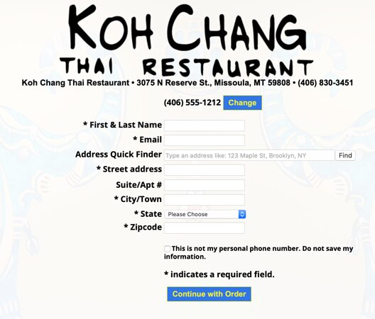 You need to complete all of this information before you can even view a menu.