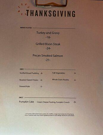 Thanksgiving 2020 dinner menu.