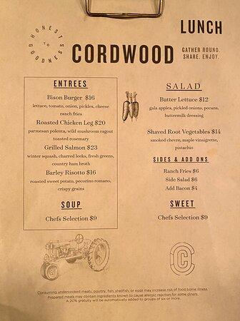 Week of Thanksgiving 2020 lunch menu.