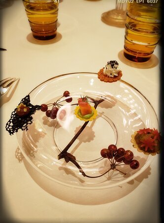 Amuse Bouche - Date with Charcoal Crisp, Eggplant, Salmon with Leek Cream, Cream Cheese with Truffle