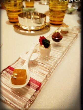 Les Petits Fours - Mango Jelly, White Meringue with Raspberry, Chocolate Cup with Caramel Pear, Macaron