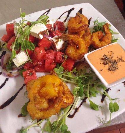 Tempura Prawns served with Watermelon and Feta Salad and a side of Saracha Aioli