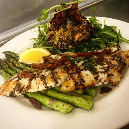 Grilled Redpsot served with Stuffed Mushroom, Grilled Asparagus and a Balsamic Reduction