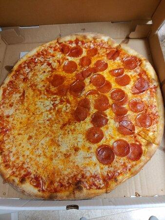 Half plain/half pepperoni