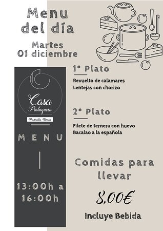 Debido a la nueva situación de confinamiento en la que nos encontramos, nos vemos obligados a poder ofrecer sólo comida para llevar, por lo que os adelantamos nuestro menú para mañana Martes 01 Diciembre!!! Gracias a todos por confiar en nosotros!!! Esperamos que os guste!!! www.parrillaumia.com/menu https://fb.me/Casaportuguesa.parrillaumia https://www.instagram.com/casaportuguesaumia/ https://www.youtube.com/channel/UC9eDEa4qsHTjVTX4Ilbd8PA?view_as=subscriber