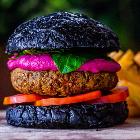 BC Veggie Burger  charcoal bun | beetroot hummus | tomato | fries