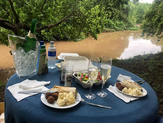 Picnic setting next to the river.