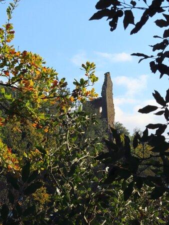 La Torre dell'Isola, vista dal sentiero che scende verso il fosso
