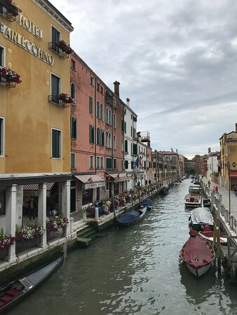 Venice, Italy: View of houses during a gondola ride.