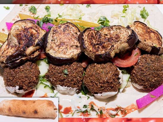 Delicious falafel with grilled halloumi wrap.