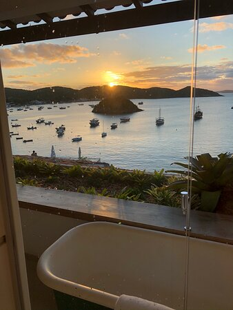View of sunset from the shower