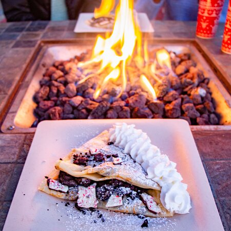 Delicious holiday crepes by the fire pits