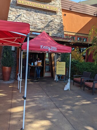 The front of the Lazy Dog restaurant.