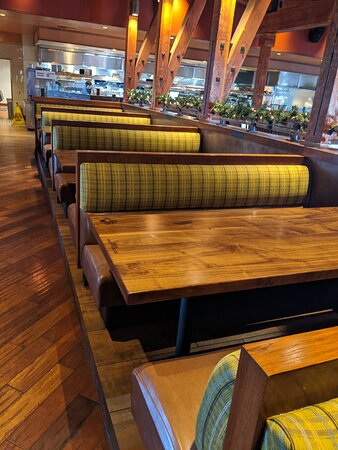Empty seats in The Lazy Dog restaurant.