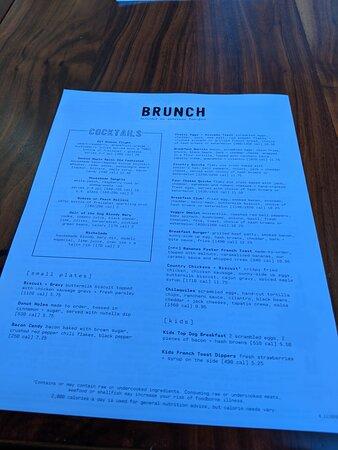 The brunch menu at the Lazy Dog restaurant.