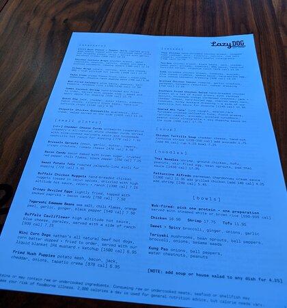 Back of brunch menu at the Lazy Dog restaurant.