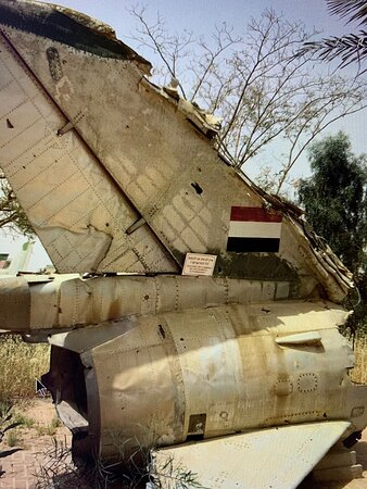 Three more photos: remnants of a downed Egyptian fighter plane from the Six Day War 1967, one of the aircrafts used in the Entebbe Rescue 1976 and an iron dome missile defense battery from contemporary times.