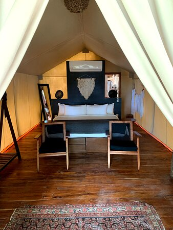 Very cool tents/rooms, you can't see it here but there are sliding doors that lock, it's not loose tarp, you CAN lock your room.