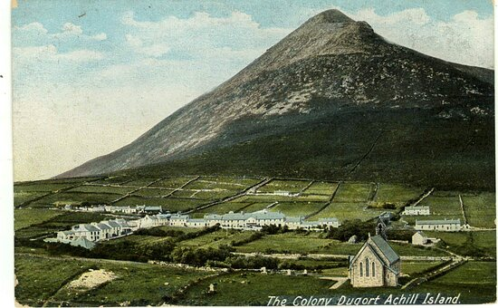 Dugort, Ireland: A view of the historic Colony  from the 1860s not long after the Famine.