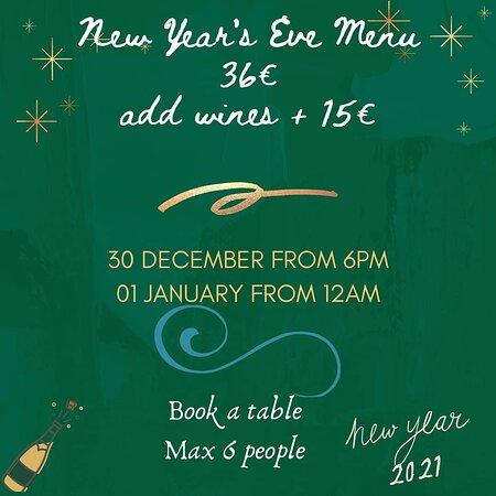 New Year's EVE menu 2021
