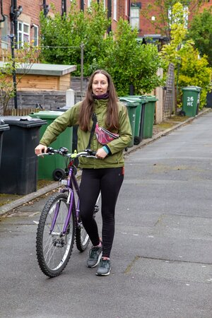 girl cycling in leeds