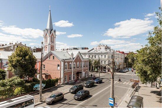 Вид на историческую часть города. Лютеранская кирха святого Георга