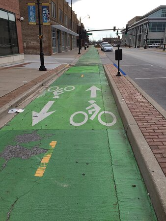 Dedicated bike trail in downtown Aurora