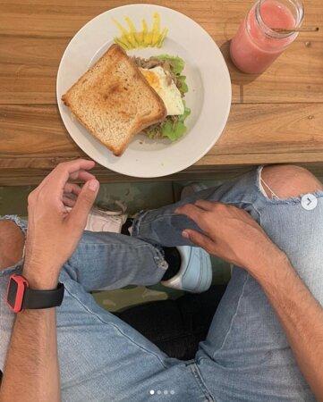 Pork and eggs sandwich
