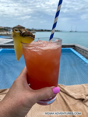A little refreshment enjoyed at Latitudes Over Water Bar.