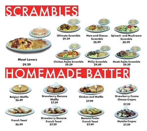 Scrambles & Homemade Batter Menu. Served All Day.