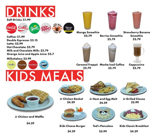 Drinks & Kids Meals. Served All Day.