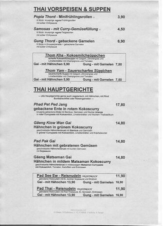 Schwaikheim, Germany: Speisekarte Thailändisch