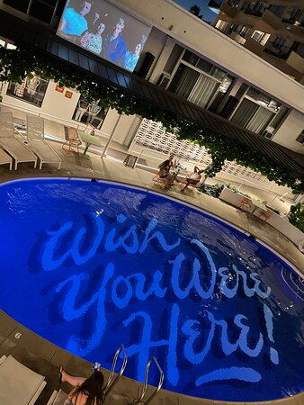 Love the surf movies above the pool!!