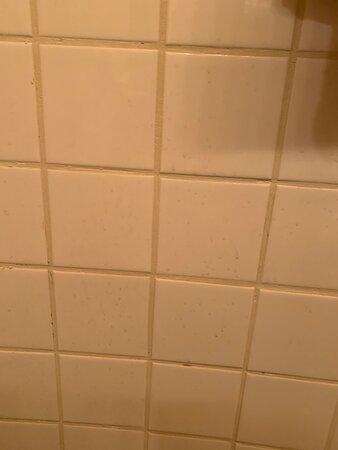 Céramique de salle de bain tâchée.