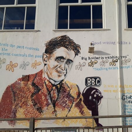 A mural of George Orwell on Southwold Pier.  Orwell lived in Southwold after returning from Burma.