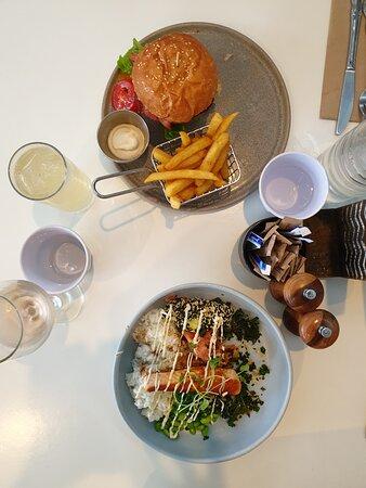 Salmon Poke Bowl, Works Burger