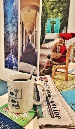 Vukovar, Croatia: #goodmorning #coffee #touristboard #newspaper #christmas